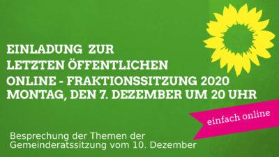 Einladung zur letzte Online-Fraktionssitzung in 2020
