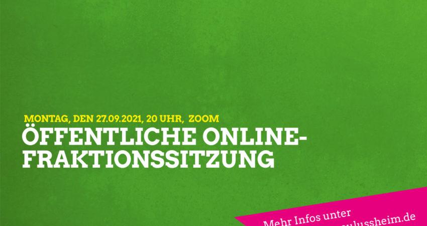 Sharepic öffentliche online-Fraktionssitzung am 27.09.2021 um 20 Uhr per Zoom