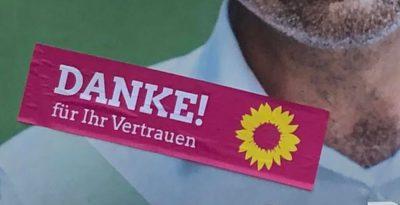 Danke nach der Landtagswahl auf Wahlplakat 2021