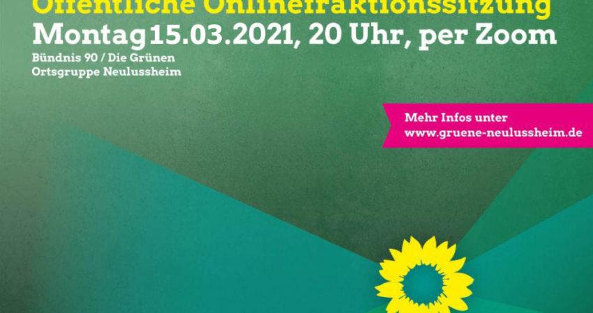 Sharepic öffentliche Fraktionssitzung am 15. März2021