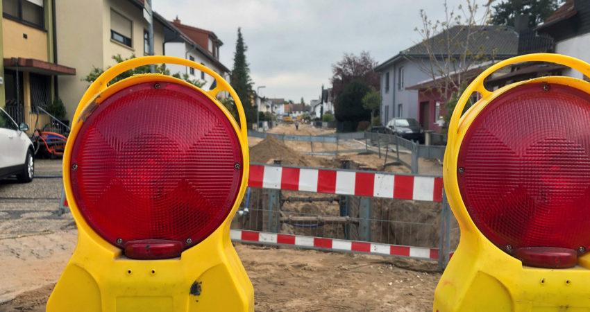 Carl-Benz-Straße Richtung Süden Baustell 28.04.2021