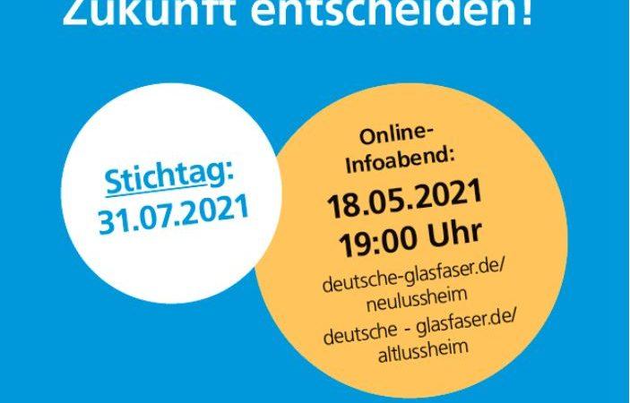 Deutsche Glasfaser Info-Veranstaltung Dienstag, 18.05.2021, 19:00 Uhr, online