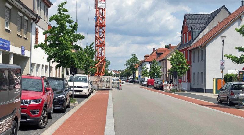 Waghäuseler Straße Richtung Kreisverkehr Baustelle 2021-06-13
